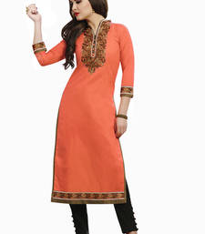Buy Orange embroidered Cotton kurtas-and-kurtis kurtas-and-kurti online