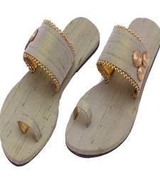 Buy Pista Plain Raw silk Open Slipper flats footwear online