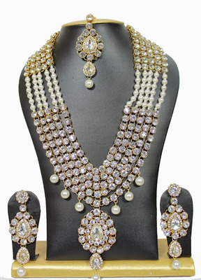 white colour long haaram necklace set