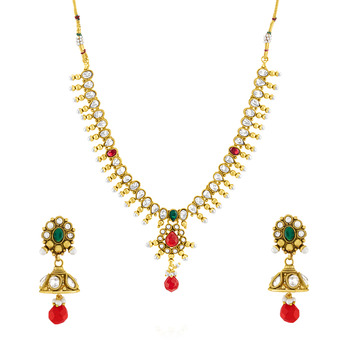 Traditional Ethnic Bindi Necklace Set with Colored Crystals For Women
