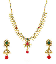 Buy Traditional Ethnic Bindi Necklace Set with Colored Crystals For Women bindi online