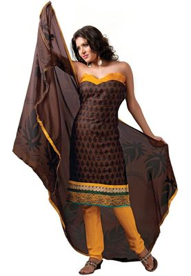 Fabdeal Casual Wear Brown & Yellow  Colored Bhagalpuri Silk Dress Material