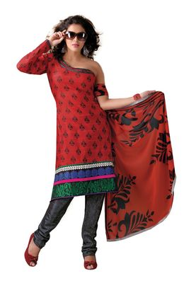 Fabdeal Casual Wear Red & Grey Colored Bhagalpuri Silk Dress Material