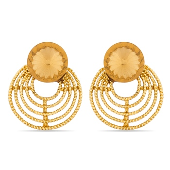 Luxor Designer Orange Gold Plated Earrings