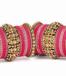 Buy Beautiful golden dot pattern bangle set for two hands pakistani-jewellery online