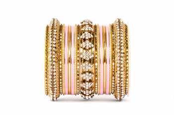 Fancy golden themed enamel bangel set for single hand