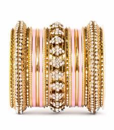 Buy Fancy golden themed enamel bangel set for single hand bangles-and-bracelet online
