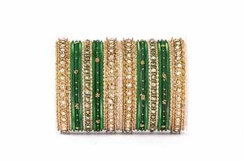 Elegant silky appearance two hand bangle set