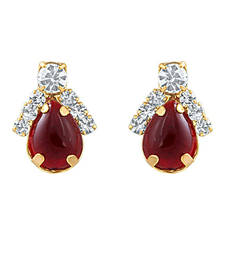 Buy Oviya Combo of Ruby Red ear studs for Women stud online