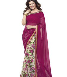 Buy magenta and Light Cream printed georgette saree with blouse printed-saree online