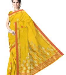Buy Turmeric Yellow Handwoven Silk Cotton Chanderi Saree with Blouse chanderi-saree online