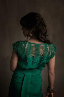Green Dress with Cutwork Neckline.