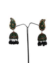Buy Designer Green Terracotta Jhumka danglers-drop online