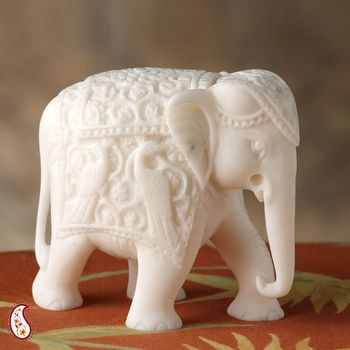 Royal Elephant Sculpture in White Marble