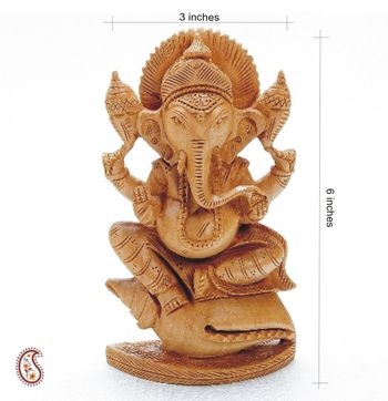 Siddhi Vinayak White wood statue seated on a Shank