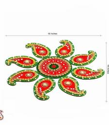 Buy Red and Green Handmade Wood Clay Floral Floor Art { Rangoli } diwali-decoration online