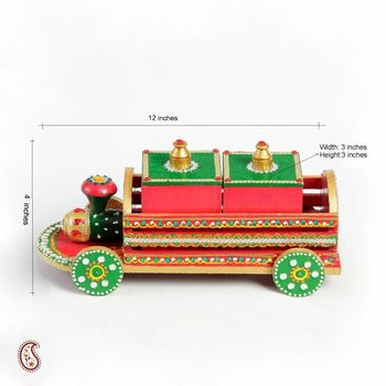Hand painted Wood and clay Toy Train storage box