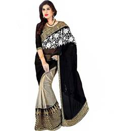 Buy black and cream emboidery half saree with blouse half-saree online