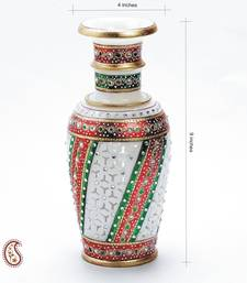 Buy Embossed Gold Paint Marble Vase with Kundan and cutwork vase online