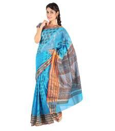 Buy Designer Paisley Print Fancy Blue Kota Doria Saree Deepawali Special Gift 241 diwali-sarees-collection online