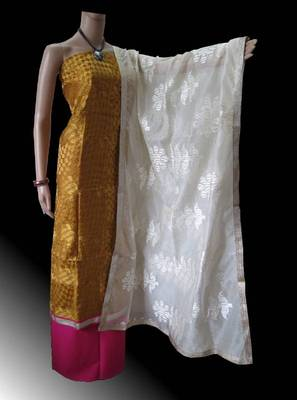 Chanderi suit with gadwal special embroidery & supernet dupatta with flower embriodery