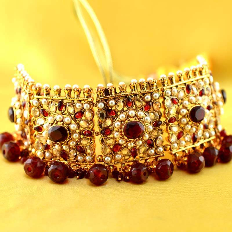 Buy jodhpuri rajasthani aad moti stone polki kundun ad cz Online