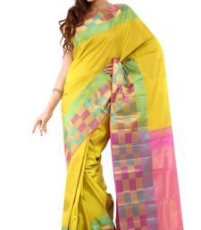 Buy Yellow hand_woven silk saree with blouse kanchipuram-silk-saree online
