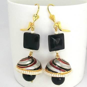 Meenakari Tokri Stone Earring Maroon Black