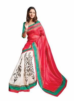 ISHIN Bhagalpuri Silk White-Red Saree BCVIP-7712