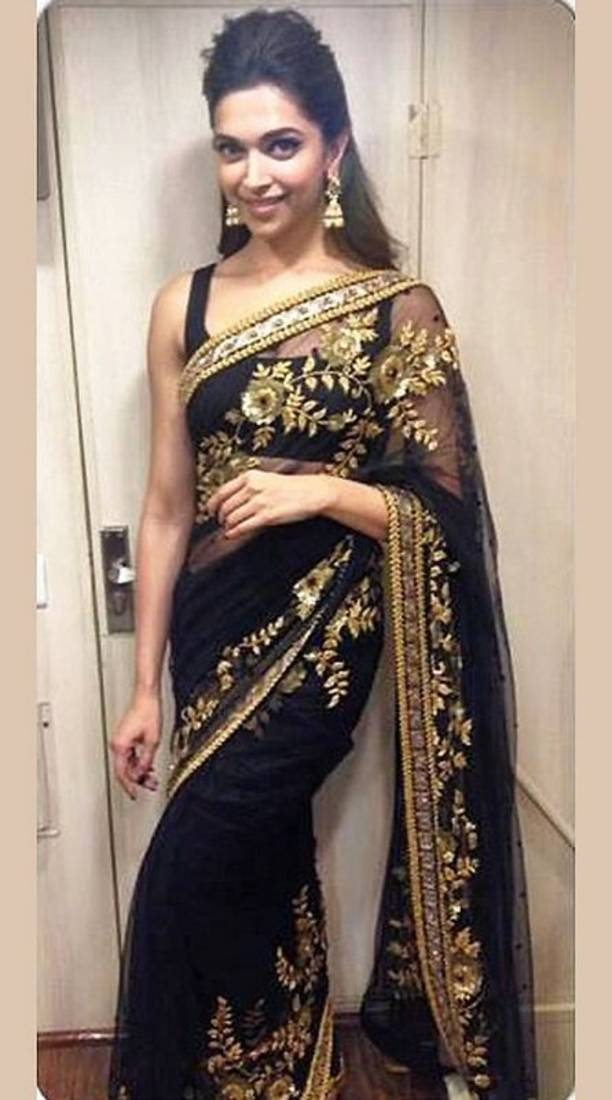 Buy Black And Gold Embroidered Net Saree With Blouse Online