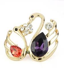 Buy 316 Stainless Steel Multi Stone CZ Beautiful Dream Swan Love Brooch brooch online