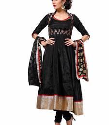 Buy Black Crepe Plain semi_stitched salwar with dupatta harem-pant online