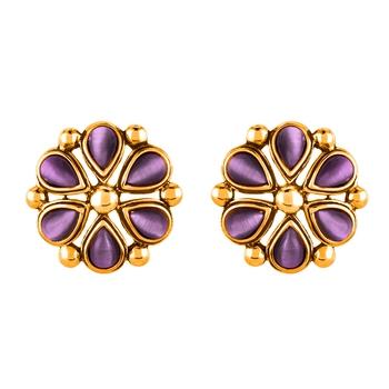 Catsye Violet Flower Gold Platedarrings for Women