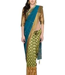 Buy Blue woven silk saree with blouse chanderi-saree online