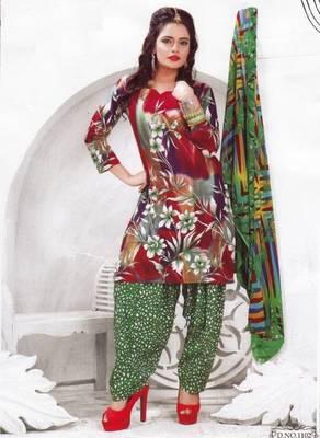 Cotton dress material unstitched salwar suit with chiffon dupatta d.no pk1102