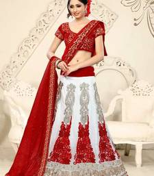 Buy White embroidered Net unstitched lehenga-choli pakistani-lehenga online