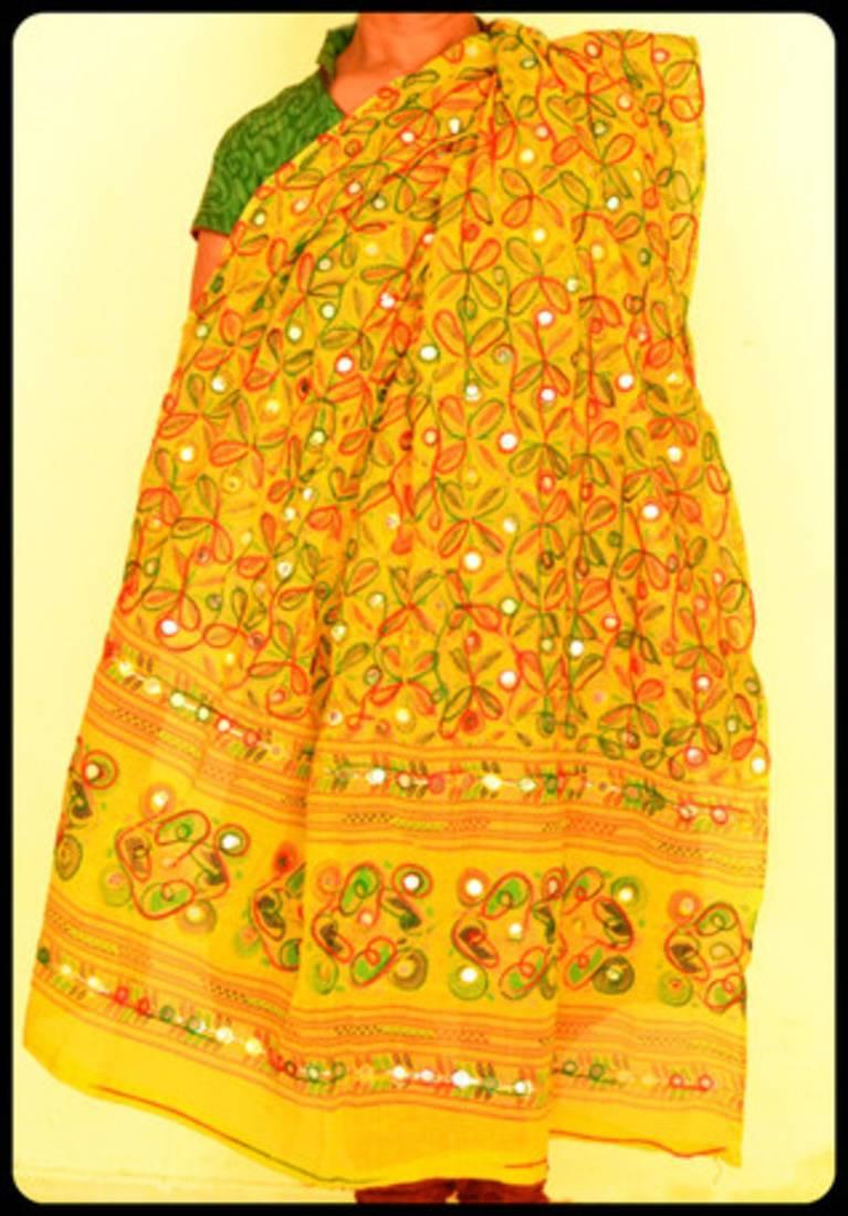 Buy Yellow Multicolour Kutch Aari work Embroidery with mirror work ...