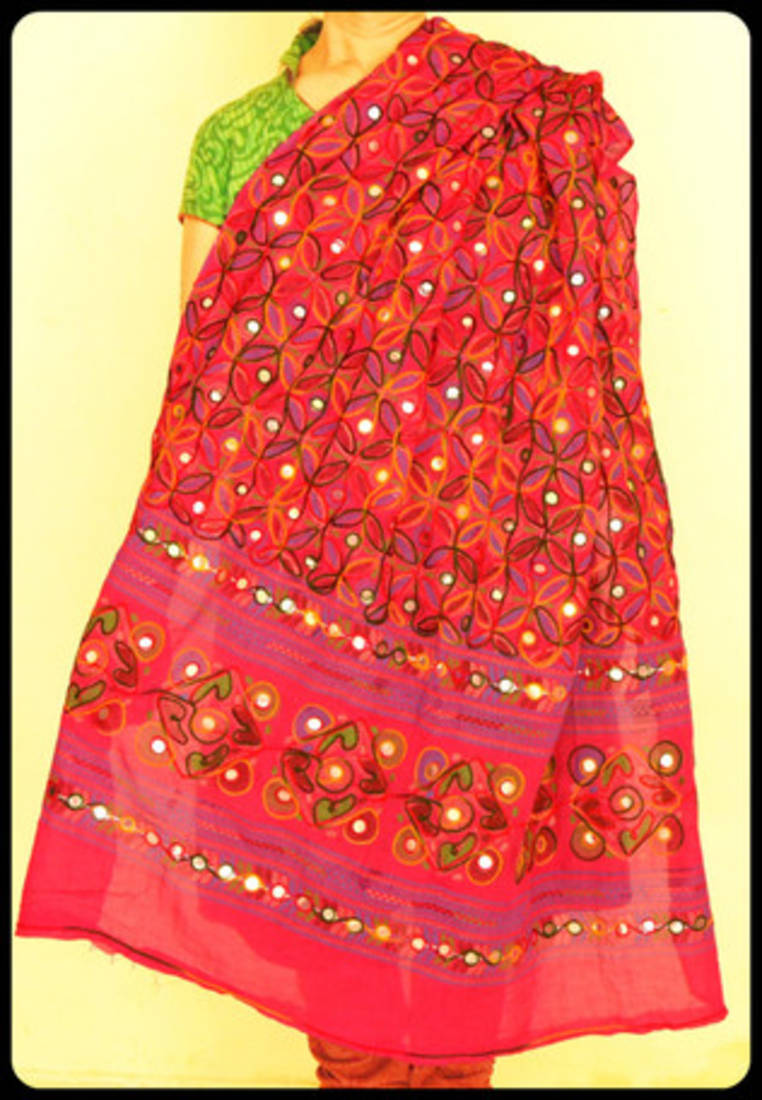 Buy Deep Multicolour Reddish Pink Kutch Aari Work