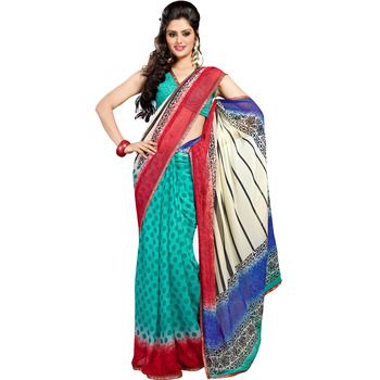TopDeals Casual Wear White & Sea Green Colored Chiffon With Lace Saree With Unstitched Blouse