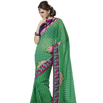 TopDeals Party Wear Green Colored Faux Georgette Embroidered Saree With Unstitched Blouse