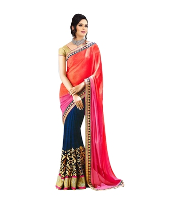 Orange and Blue embroidered georgette saree with blouse