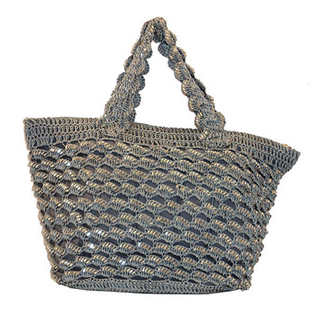 Sequins Crochet Small Handbag | Ash Grey