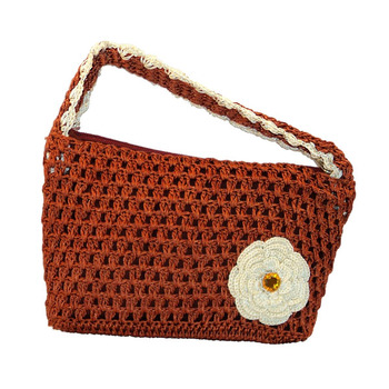 One Flower Crochet Clutch | Bright Brown