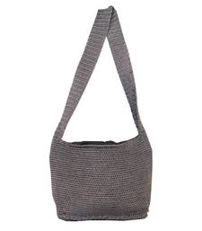 Buy Ajar Crochet Shoulder Handbag | Ash Grey jhola-bag online