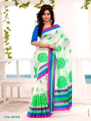 Elegant Carsa Saree Designer Print With Blouse Piece D.No 6018B