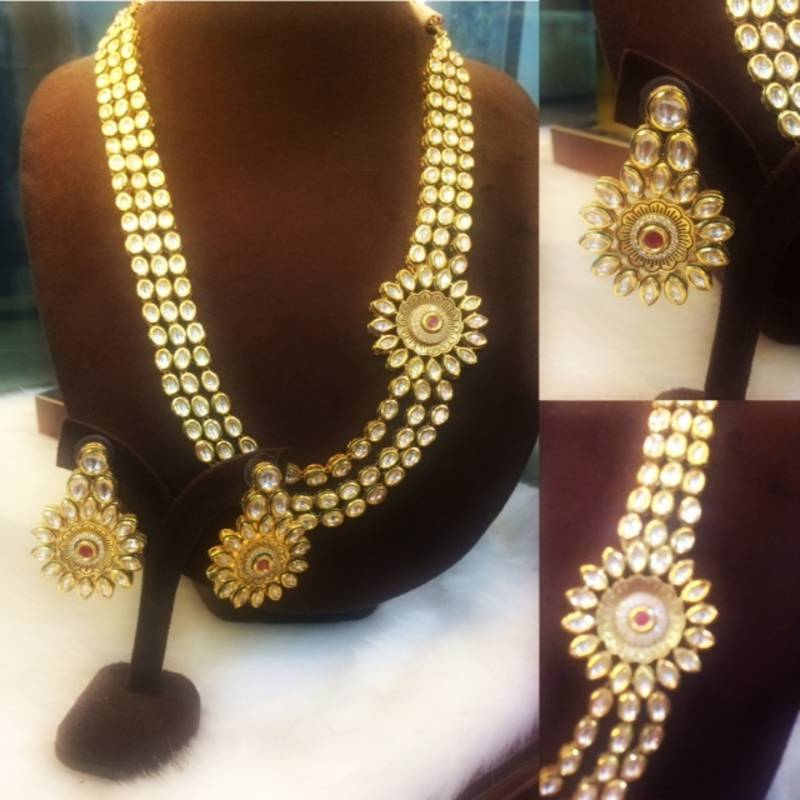 Buy Gold Kundan Beautiful 3 Line Rani Haar Necklace Set