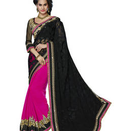 Buy Black And Fuchsia Pink embroidered Net Brasso And Faux Chiffon saree with blouse party-wear-saree online