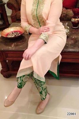 Peach embroidered Georgette unstitched salwar with dupatta