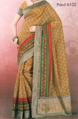 Embroidered cotton saree - printed cotton sari - exclusive designer saree - ethnic border - riyaa