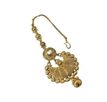 Designer Gold Plated & Stylish golden Pearl Maang Tikka for bridal women Jewellery Tikka